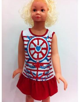 Baskılı renkli  Çizgili Kız Çocuk Elbise
