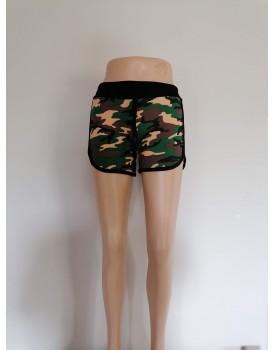Ucuz Giyin Asker Desenli Kadın Şort