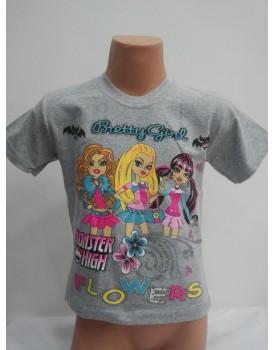 Barbie Baskılı Gri Kız Çocuk T-Shirt