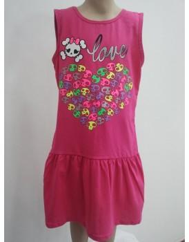 Baskılı Pembe Kız Cocuk Elbise