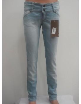 Gri - Beyaz Kadın Kot Pantolon