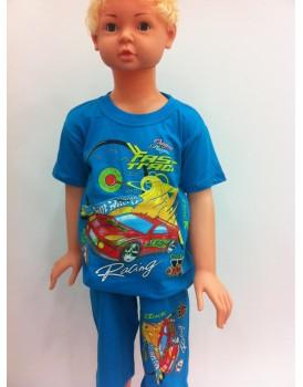 Baskılı Mavi Erkek Çocuk Şortlu Takım