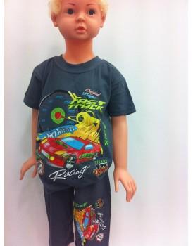 Baskılı Lacivert Erkek Çocuk Şortlu Takım