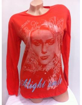 Kırmızı Baskılı Bayan Uzun Kollu Body