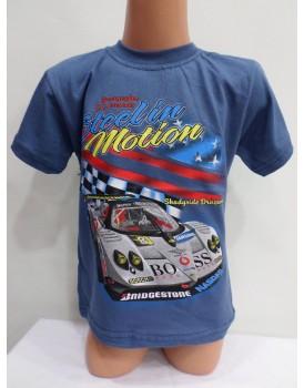 Araba Baskılı Koyu Mavi Erkek Çocuk T-Shirt