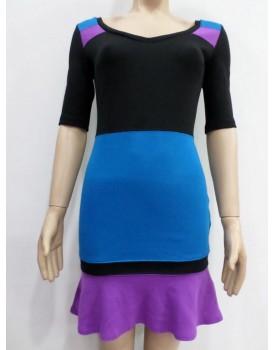 Farklı Renk Desenli Bayan Elbise
